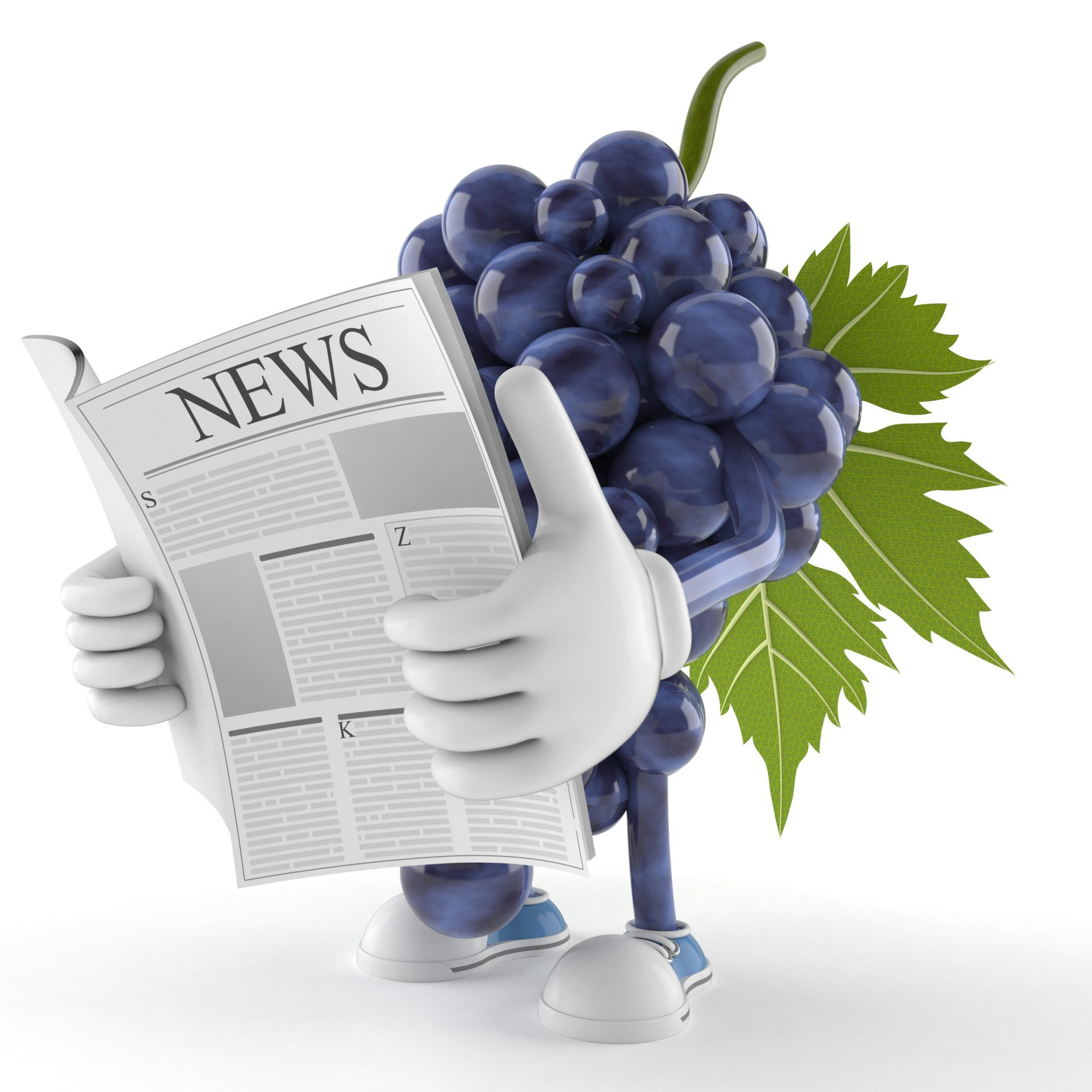 Grapes character reading newspaper on white background